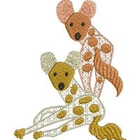 Ethnic embroidery design of two African Wild dogs for the 4x4 hoop