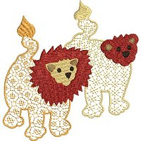 Embroidery design of two ethnic lions with a lace fill stitch.