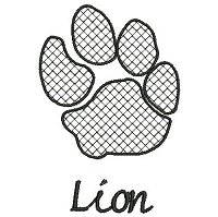 Embroidery design of a lion paw print with a lace fill stich and the word 'lion' underneath the paw print.