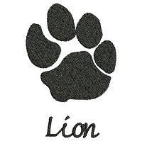 Embroidery design of a lion paw print with a solid fill stitch and the word 'lion' underneath the paw print.