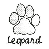 Embroidery design of a leopard paw print with a lace fill stitch anf the word 'leopard' underneath the paw print.