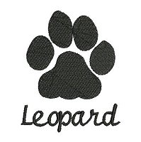 Embroidery design of a leopard paw print with a lace fill stitch and the word 'leopard' underneath the paw print.