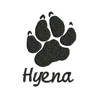 Embroidery design of the paw print of a hyena with the word 'hyena' underneath the paw print.