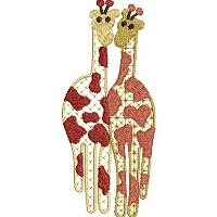 Embroidery design of ethnic giraffe.