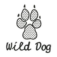 Embroidery design of a paw print of the African Wild dog with a lace fill stitch and the name 'Wild Dog' underneath.
