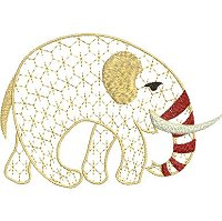 Embroidery design of an African elephant with a lace fill stitch.