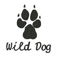 Embroidery design of a paw print of the African Wild Dog with a solid fill stitch.