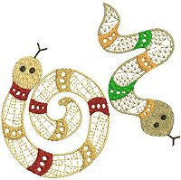 Embroidery design of two ethnic snakes with a lace fill stitch and color bands aroung their bodies.
