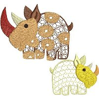 Embroidery design of ethnic rhinos with lace fill stitch. These are not freestanding lace designs.