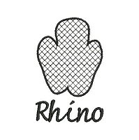 Embroidery design of a rhino spoor with a lace fill stich.