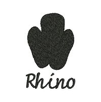Embroidey design of a rhino spoor with a solid fill stitch.