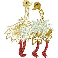 Embroidery design of two frolicing ethnic ostriches.