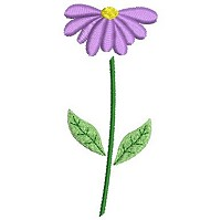 Embroidery design of a purple flower
