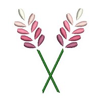 Embvroidery design os 2 pink and white flowers on stems
