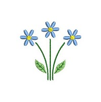 Free embroidery design of a blue flower for download.