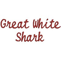 Embroidery design of the words 'Great White Shark'.