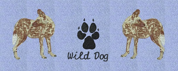 Embroidery project - grouping the wild dog and its paw print together.