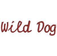 Embroidery design of the word 'Wild Dog'.