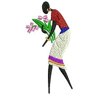 Embroidery design of a women picking flowers.