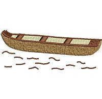 "Embroidery design of a wooden canoe carved out of a tree trunk (called a ""Mokoro"" in Botswana)."