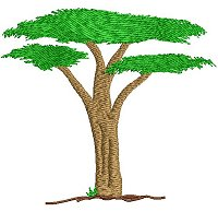 Embroidery design of a tree.