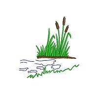 Embroidery design of a papyrus patch on the water's edge.