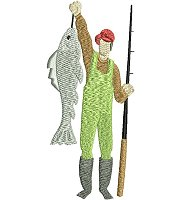 Embroidery design of a fisherman holding a fish.