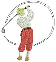 Embroidery design of a man playing golf.