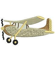 Embroidery design of a small aeroplane.