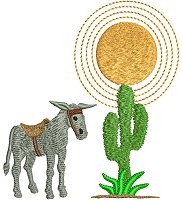 Donkey and cactus embroidery design.