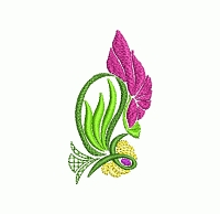 Abstarct floral buttonhole embroidery design