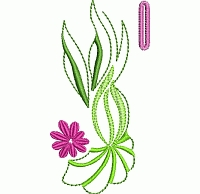 Abstract floral buttonhole embroidery design.