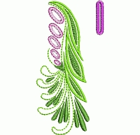 Abstract floral buttonhole embroidery design