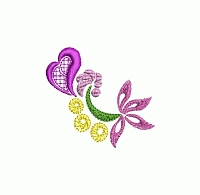 Abstract floral embroidery design