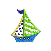 Applique embroidery design of a small sail boat.