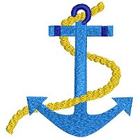 Embroidery design of an anchor.