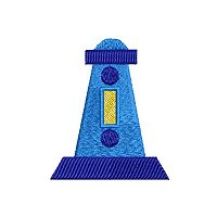 Small embroidery design of a light house.