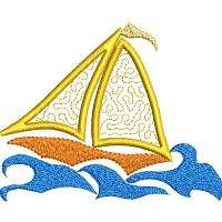 Applique embroidery design of a sail boat in rough seas.
