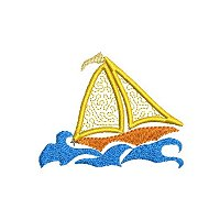 Small applique embroidery design of a sail boat in rough seas.a
