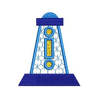 Small applique embroidery design of a light house.