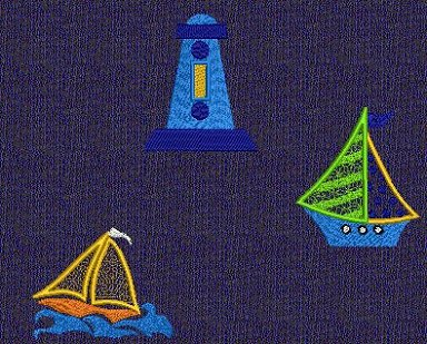 Project and layout examples using the Sea Side Applique embroidery designs.