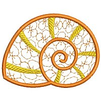 Embroidery design of a sea shell.