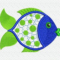 Applique embroidery design of a fish.