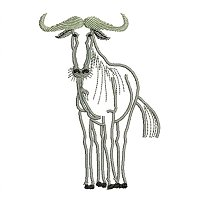 Blue Wildebeest embroidery design