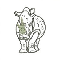 White Rhino embroidery design