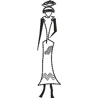 Ethnic embroidery design of a woman in one color.
