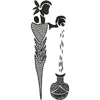 Free ethnic embroidery design of a women sifting grain.