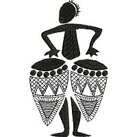 Ethnic embroidery design ofa man playing drums.