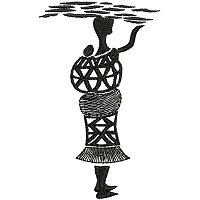 Ethnic embroidery design of a woman carrying wood on her head.