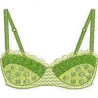 Green brassiere embroidery design.